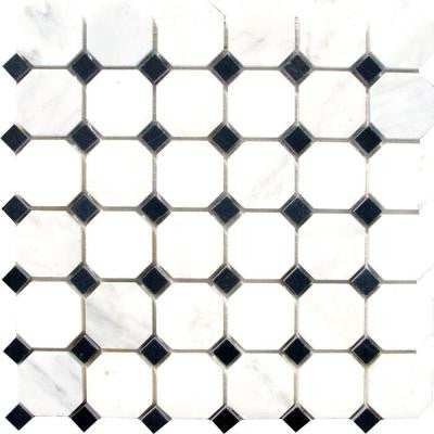 Greecian White Octagon 12 in. x 12 in. x 10 mm Honed Marble Mesh-Mounted Mosaic Tile