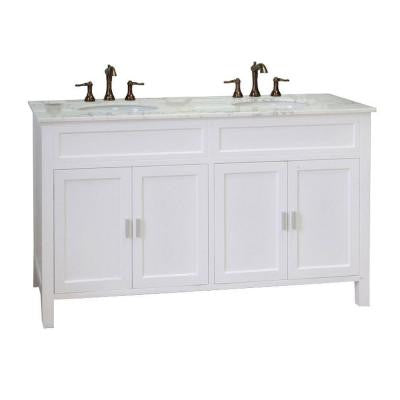Elite 60 in. W x 36 in. H Vanity in White with Marble Vanity Top in White
