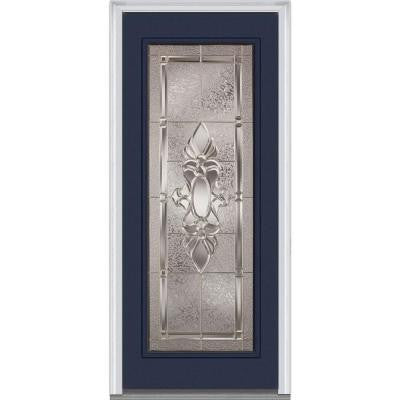 32 in. x 80 in. Heirloom Master Decorative Glass Full Lite Painted Builder's Choice Steel Prehung Front Door
