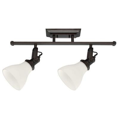 2-Light Burnt Sienna Track Lighting Kit with Satin White Glass