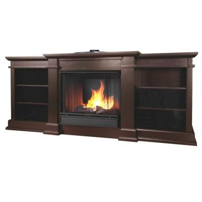 Fresno 72 in. Media Console Gel Fuel Fireplace in Dark Walnut