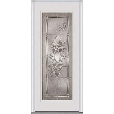 36 in. x 80 in. Heirloom Master Decorative Glass Full Lite Painted Builder's Choice Steel Prehung Front Door
