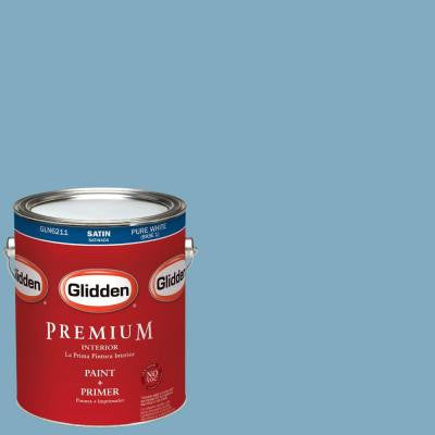 1-gal. #HDGB59 Country House Blue Satin Latex Interior Paint with Primer