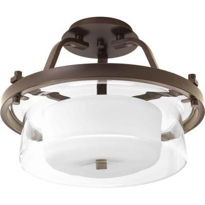 Indulge Collection 2-Light Antique Bronze Semi-Flush Mount Light