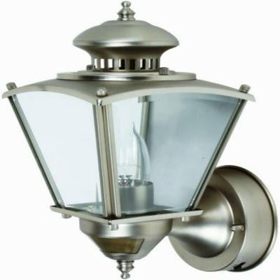 16 in. Pewter Motion Activated Outdoor Beveled Glass Coach Lantern