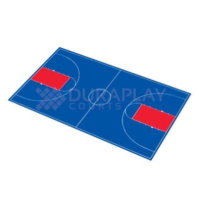 51 ft. x 83 ft. 11 in. Royal Blue and Red Full Court Basketball Kit