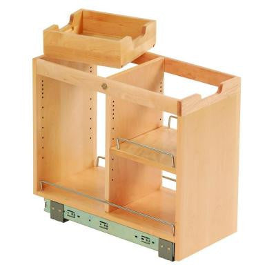 10-3/4x19-1/2x22-1/8 in. FINDIT Birch Kitchen Storage Organization Base Cabinet Pull out with Slide, Half Tray and Shelf