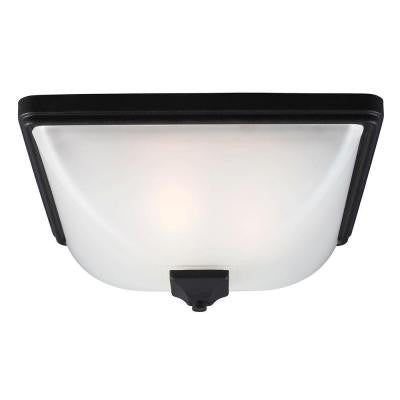 Irving Park 3-Light Outdoor Black Fluorescent Ceiling Flushmount with Satin Etched Glass