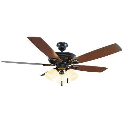 Gazelle 52 in. Indoor/Outdoor Natural Iron Ceiling Fan with Shatter Resistant Light Shades