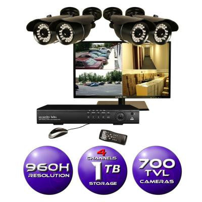 4-Channel 960H Surveillance System with 1TB HDD, (4) 700TVL Cameras and 19 in. LED HD Monitor