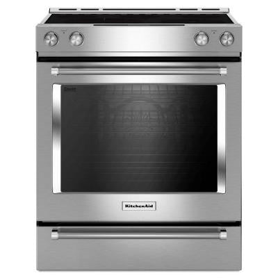 30 in. 7.1 cu. ft. Slide-In Electric Range with Self-Cleaning Convection Oven in Stainless Steel
