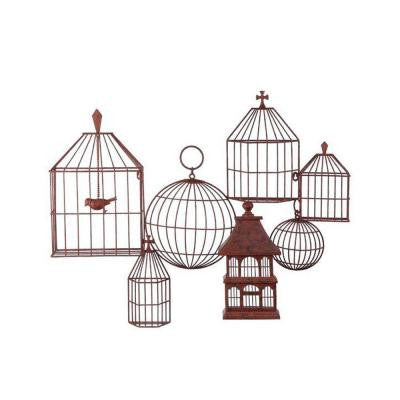 28.75 in. H x 34.5 in. W Bird Rust Cages Wall Plaque