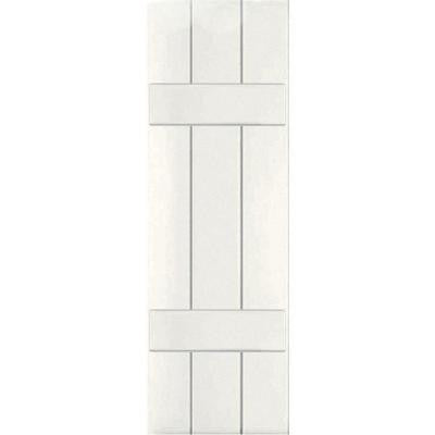 12 in. x 45 in. Exterior Composite Wood Board and Batten Shutters Pair White
