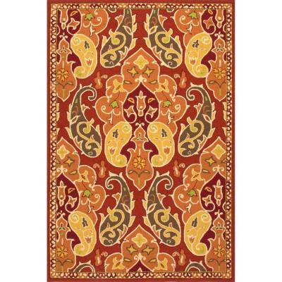 Carmen Burnt Orange 5 ft. x 7 ft. 6 in. Floral Area Rug