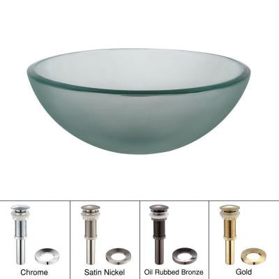 Vessel Sink in Frosted Glass with Pop-Up Drain and Mounting Ring in Oil Rubbed Bronze