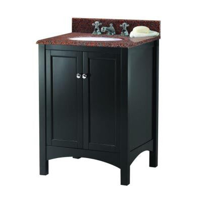 Haven 25 in. W x 22 in. D Vanity in Espresso with Granite Vanity Top in Terra Cotta with White Basin