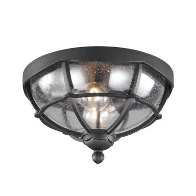 River North Collection 1-Light Textured Black Outdoor Flushmount