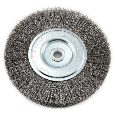 6 in. x 1/2 in. and 5/8 in. Arbor Fine Crimped Wire Bench Wheel Brush