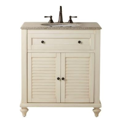 Hamilton 31 in. W x 22 in. D Shutter Bath Vanity in White with Granite Vanity Top in Beige