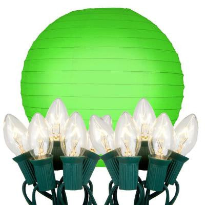 10 in. 10-Light Green Paper Lantern String Lights