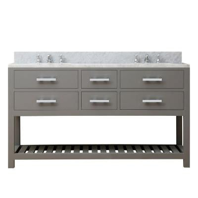 60 in. W x 21.5 in. D x 34 in. H Vanity in Cashmere Grey with Marble Vanity Top in Carrara White