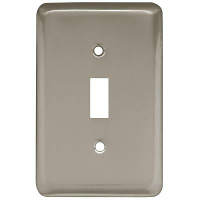 Stamped Round 1 Toggle Switch Wall Plate - Satin Nickel
