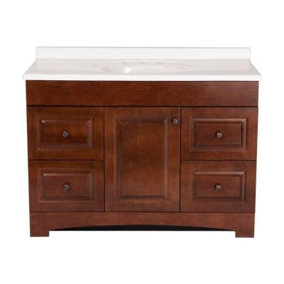 Summit 48 in. Vanity in Auburn with Cultured Marble Vanity Top in White
