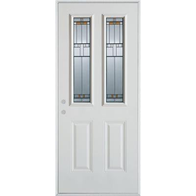 32 in. x 80 in. Architectural 2 Lite 2-Panel Prefinished White Steel Prehung Front Door