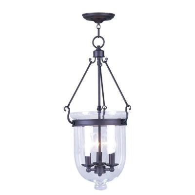 Providence 3-Light Bronze with Clear Glass Pendant