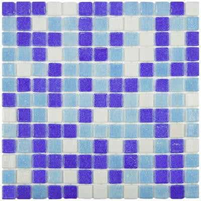 Ruidera Square Agua Espuma 13 in. x 13 in. x 5 mm Glass Mosaic Tile