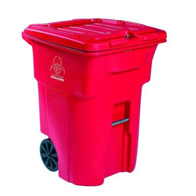96 Gal. Red Wheeled Regulated Medical Waste Trash Can