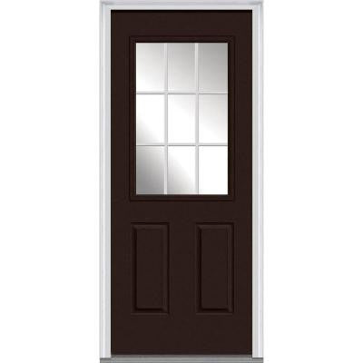 36 in. x 80 in. Classic Clear Glass GBG 1/2-Lite Painted Majestic Steel Prehung Front Door