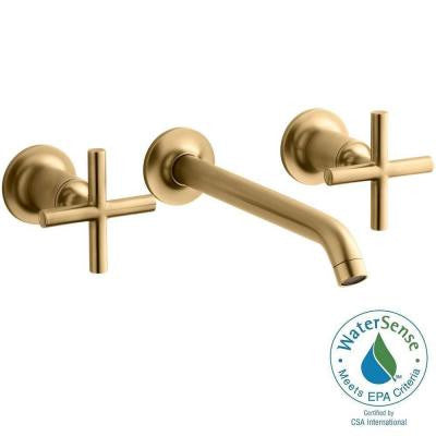 Purist Wall-Mount 2-Handle Bathroom Faucet Trim Kit in Vibrant Modern Brushed Gold