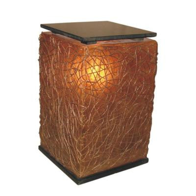 Paris 24 in. Amber Brown Cube Floor Lamp with Abstract Natural Weave