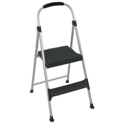 3.18 ft. 2-Step Aluminum Step Stool Ladder with Plastic Steps 225lb wt capacity