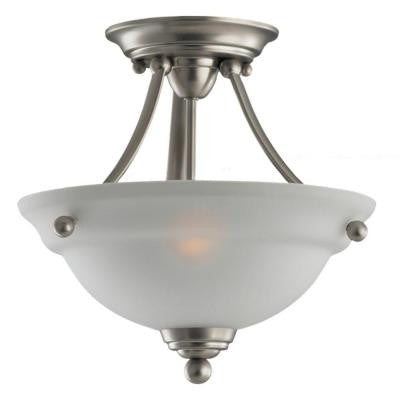 Wheaton 2-Light Brushed Nickel Semi Flush Mount