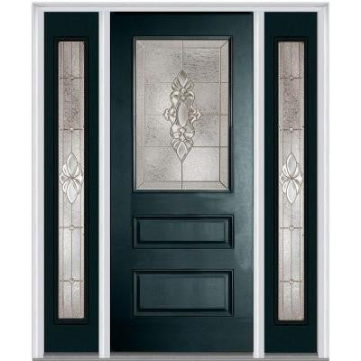 64 in. x 80 in. Heirloom Master Decorative Glass 1/2 Lite Painted Fiberglass Smooth Prehung Front Door with Sidelites