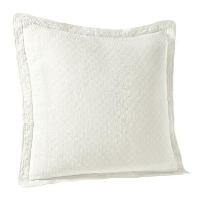 King Charles White Matelasse Cotton Euro Pillow Sham