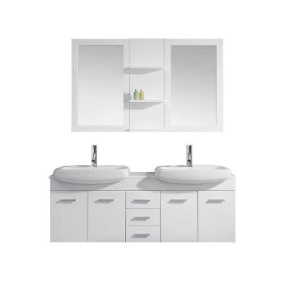 Ophelia 59 in. Double Vanity in White with Stone Vanity Top in White and Mirror