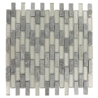 Tectonic Brick Green Quartz Slate and White Gold 12 in. x 12 in. x 8 mm Glass Mosaic Floor and Wall Tile