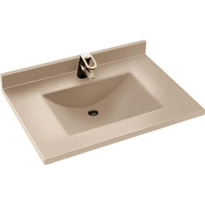 Contour 37 in. W x 22 in. D x 10-1/4 in. H Solid-Surface Vanity Top in Winter Wheat with Winter Wheat Basin