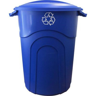 32 Gal. Outdoor Recycling Trash Can in Recycling Blue