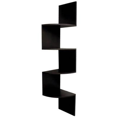 nexxt Provo 4-Tier 12 in. x 57 in. MDF Corner Shelf in Black