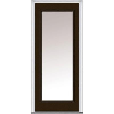 30 in. x 80 in. Classic Clear Glass Full Lite Painted Builder's Choice Steel Prehung Front Door