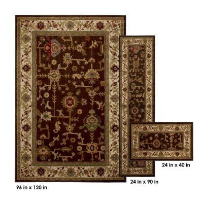 Taba Brown 8 ft. x 10 ft. 3 Piece Rug Set