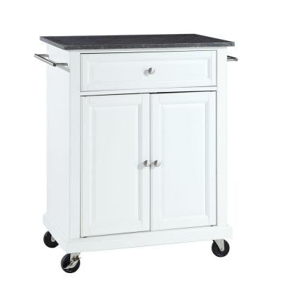 28-1/4 in. W Solid Black Granite Top Mobile Kitchen Island Cart in White