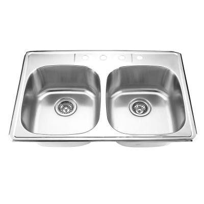 Top Mount Stainless Steel 33 in. 4-Hole Double Bowl Kitchen Sink in Satin