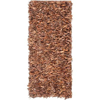 Leather Shag Brown 2 ft. 3 in. x 9 ft. Rug Runner