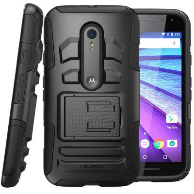Moto G 3rd Generation Prime Series Holster Case with Kickstand - Black