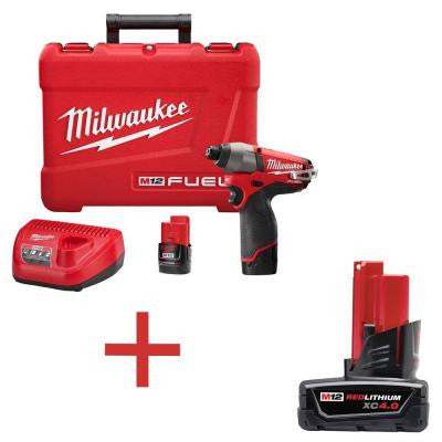 M12 FUEL 12-Volt 1/4 in. Hex Impact Driver Kit with Free M12 XC 4.0Ah Extended Capacity Battery